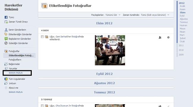 facebook arama geçmişi bulma