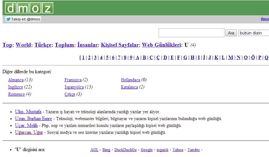 dmoz ugurugurcan.com