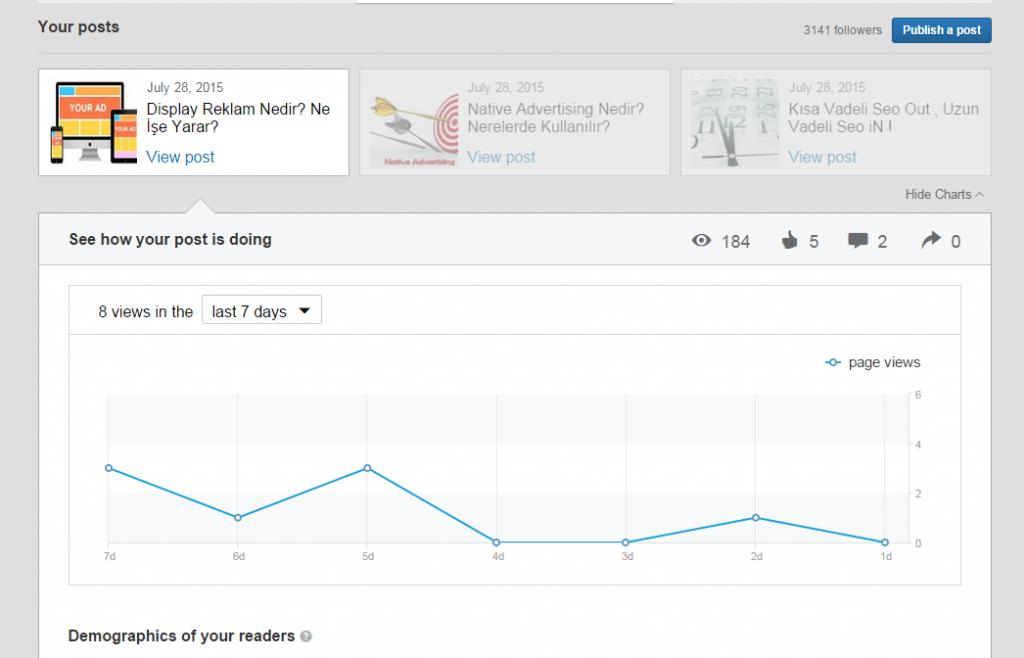 Linkedin pulse istatistikler