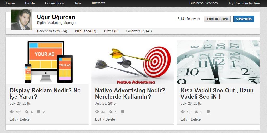 Linkedin pulse yayın özelliğini açmak